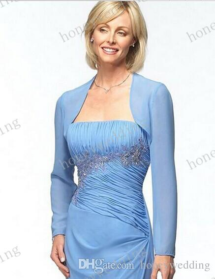 Custom Colour Size Chiffon Long Sleeves Mother Of The Bride Wedding Jackets Women Wraps Bridal Gown Formal Dress Bolero Bridal Accessories