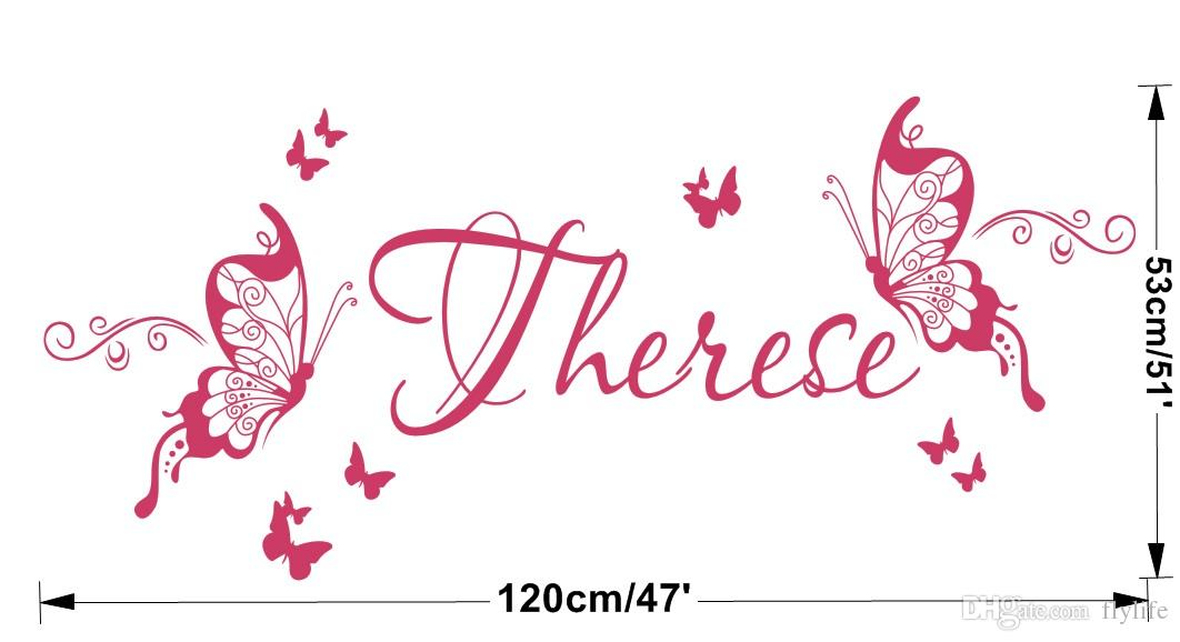 Personalised Butterfly Wall Sticker Custom-made Kids Name Decal Decoration Girls Room Home Decor