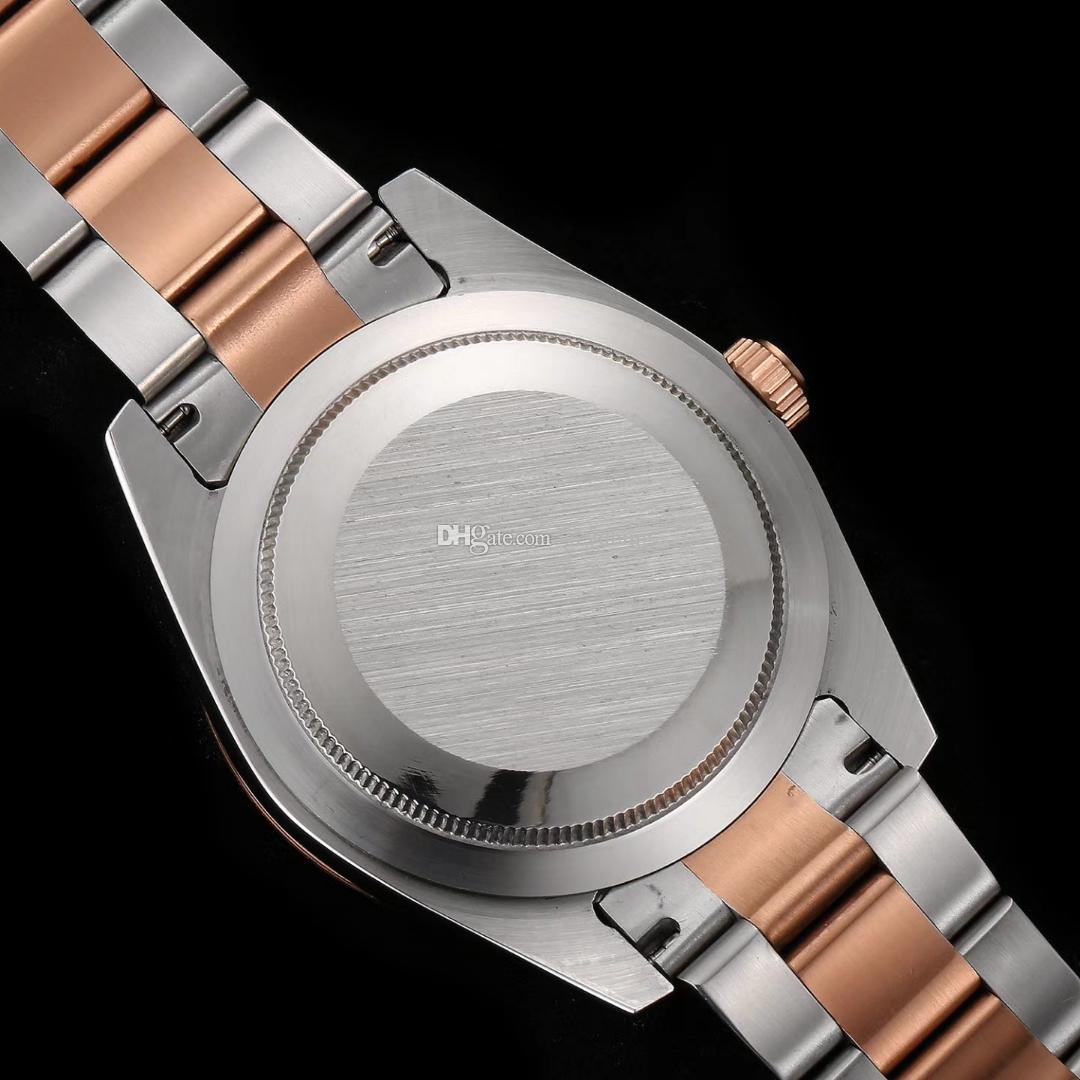 Reloj de lujo superior para hombres Reloj de pulsera de oro rosa AIR KING Puntero verde puntero verde movimiento automático Reloj de hombre de zafiro con espejo de cristal