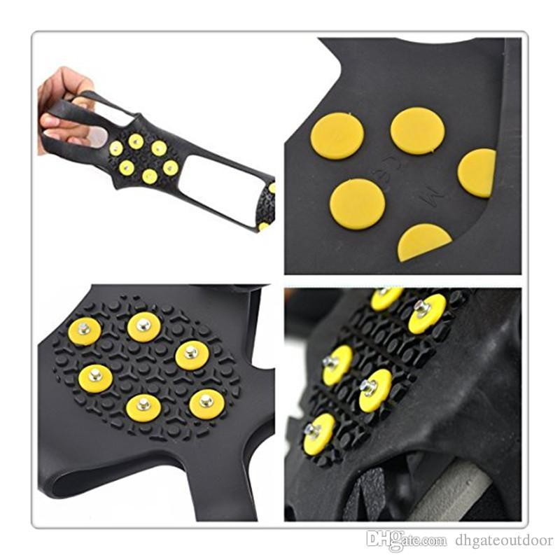 b36d6ee027d 2019 Ice Snow Grips Over Shoe Boot Traction Cleat Rubber Spikes Anti Slip  10 Stud Crampons Slip Ski Snow Hiking Climbing Stretch Footwear Gear From  ...