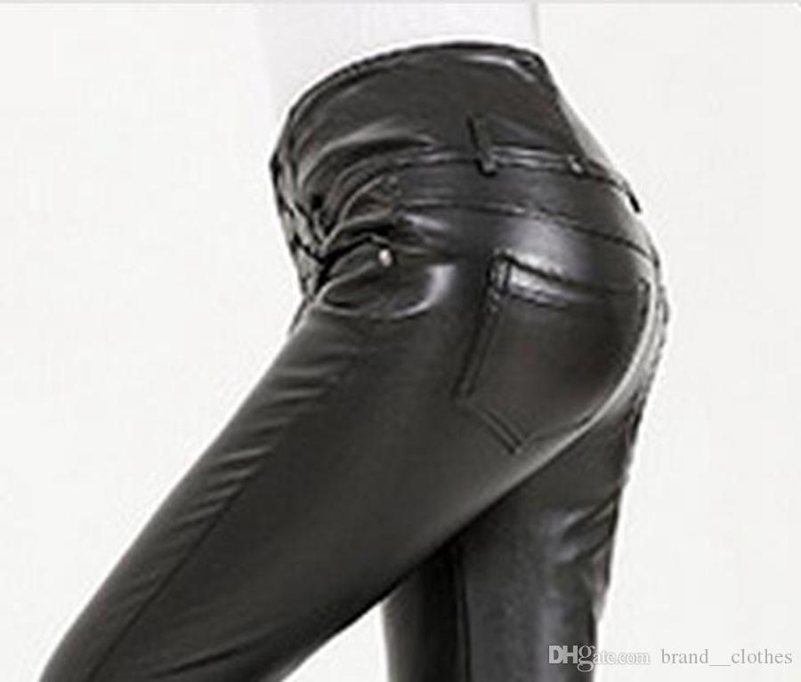Mevrouw Qiu Dong Europe en de Verenigde Staten De nieuwe vrijetijdsmode voeten Tall Taille Tight Han Edition tonen dunne lederen broek. S - 2XL