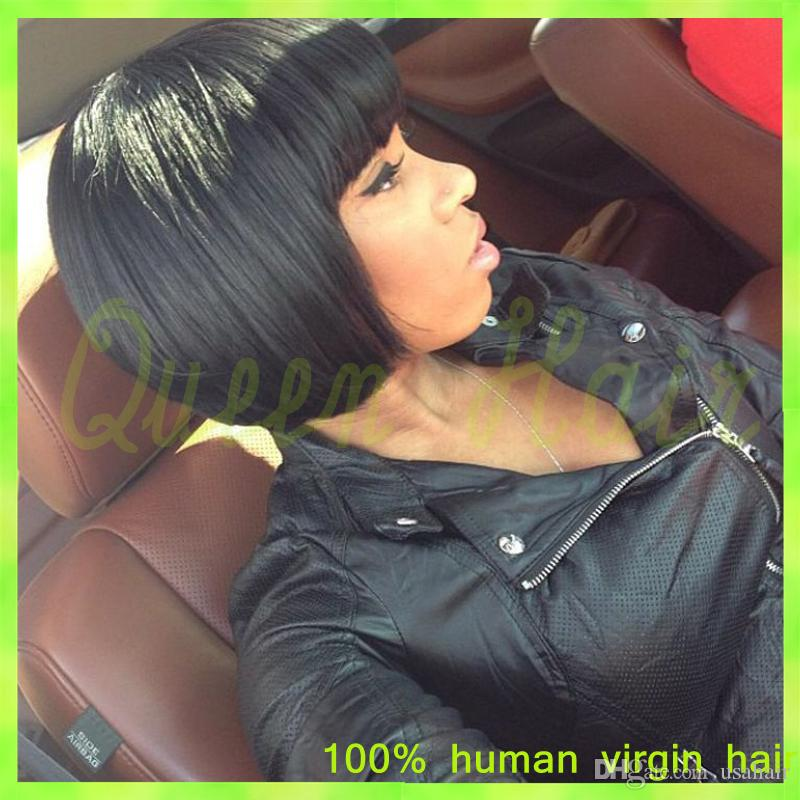 100% Unprocessed Virgin Brazilian Full Lace Human Hair Wig Natural Glueless Lace Front Human Hair Wig With Bangs For Black Women
