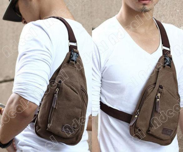 New Men'S Fashion Satchel Cross Body Bag New Tide diagonal Canvas ...
