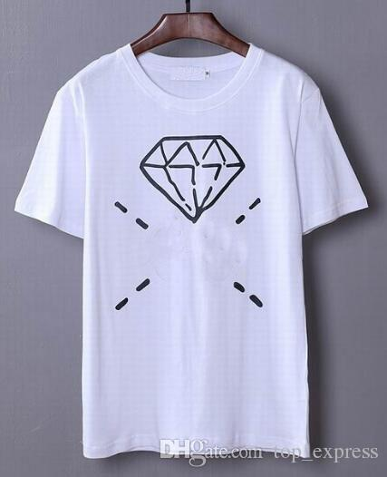 Top Express Italy Design Cotton T shirt Men Classic Summer T-shirts Diamond Printed Short Sleeve Fashion Fitness Hip Hop White