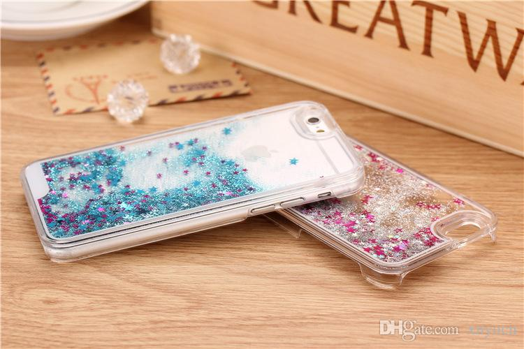 2016 hot New Glitter Stars Dynamic Liquid Quicksand Hard Case Cover For iPhone 6 6s 6 plus 5s 4 4s Transparent Clear Phone Case