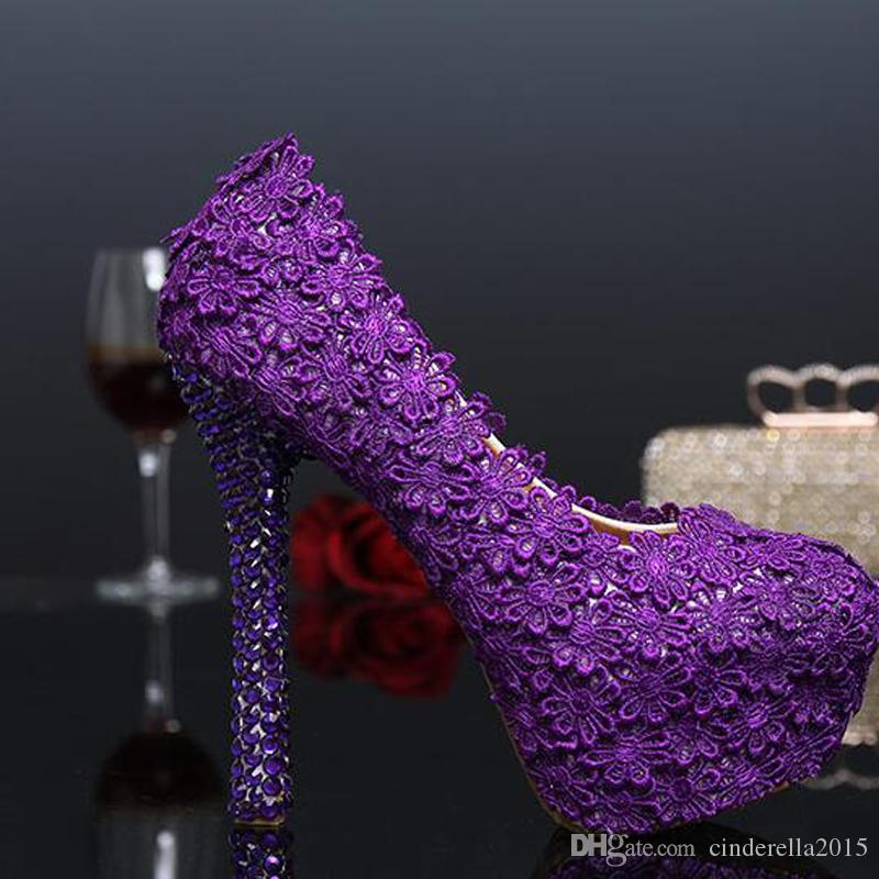 Fashion Purple Lace Flower Wedding Shoes Evening Party High Heels Women Genuine Leather Pumps Bridal Shoes Plus Size 43