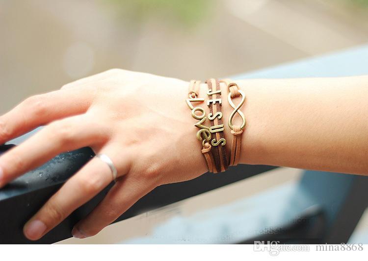 Vintage Christian Bijoux Catholique Jésus Bracelets Tissé Multicouche Chaînes En Cuir Charme Bracelet Infinity Lettre Charmes Bracelet Bracelet