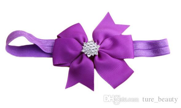 ¡Envío libre! 2015 nuevo bebé Rhinestone del arco venda del pelo bowknot vendas accesorios para el cabello infantil tocado flor 20 unids / lote