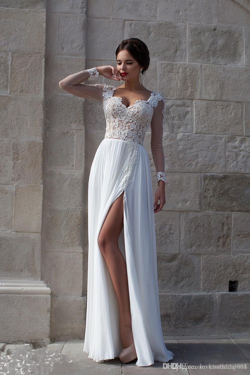 White Beach Wedding Dresses 2019 Lace Bridal Dress Applique Sheer Illusion Long Sleeves Split Soft Chiffon Wedding Gowns Cheap