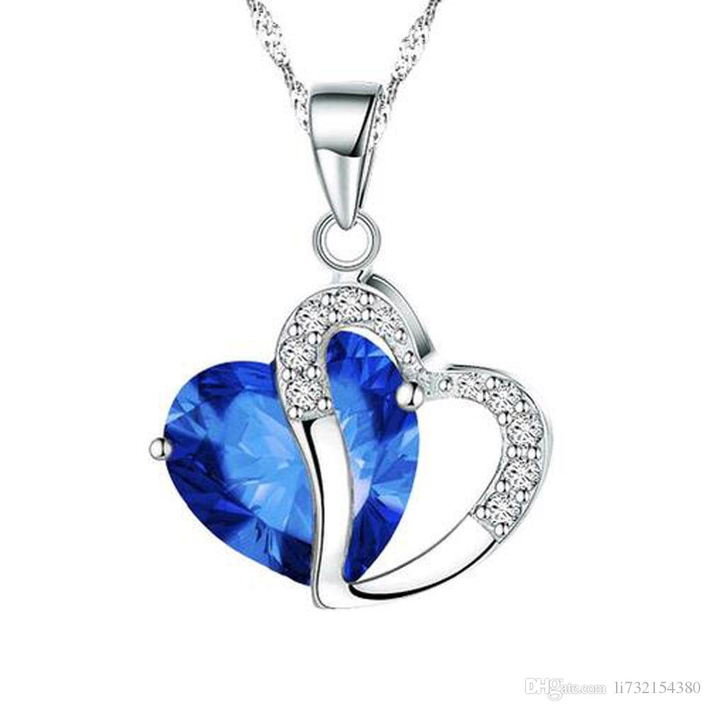 -blue hot fashion heart heart purple gem pendant necklace sexy charm crystal jewelry boutique gift