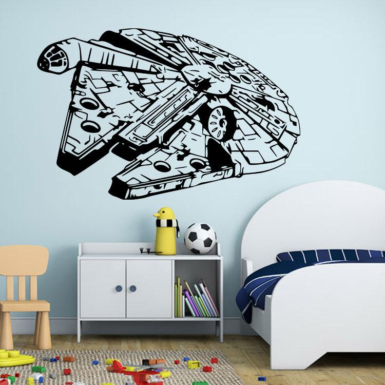 Star Wars Wall Stickers Millennium Falcon Fight Home Decor Diy Creative  Removable Bedroom Living Room Stickers Wallpaper Mural Cheap Wall Decor  Stickers ...