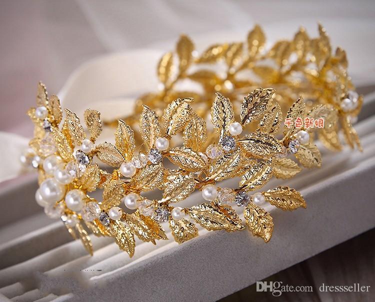 Stokta 2015 Altın zeytin dalı düğün saç başlığı rhinestones taçlar tiaras saç aksesuarları