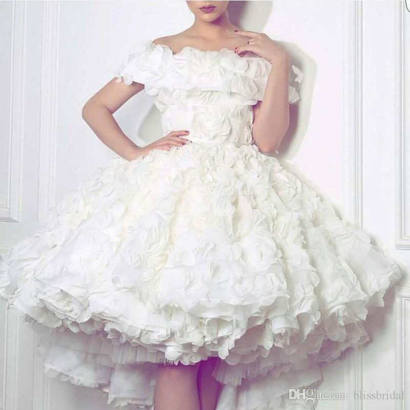 2016 Off The Shoudler White Ball Gown Sort Mini Prom Dresses Layered Tulle Rose Hand Made Flowers Wedding Party Gowns