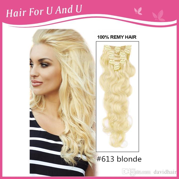 Cheap virgin malaysian body wave clip in human hair extensions for cheap virgin malaysian body wave clip in human hair extensions for full head set blonde color 613 hair extensions with pmusecretfo Choice Image