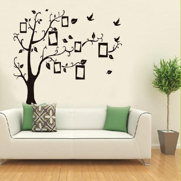 Home decor wall sticker home black tree design wall for Decoration murale xxl