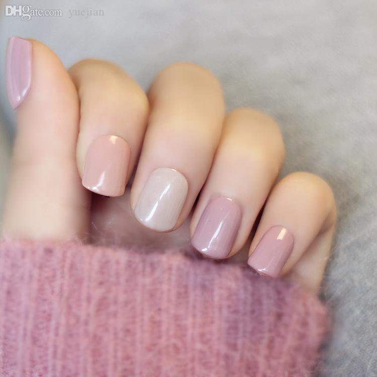 Wholesale Japanese Macaroon Color Cute Gel Nail Tips Set Pure Candy