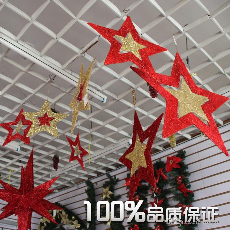Christmas Decorations In The Atrium Charm Red Five Pointed Star Orn