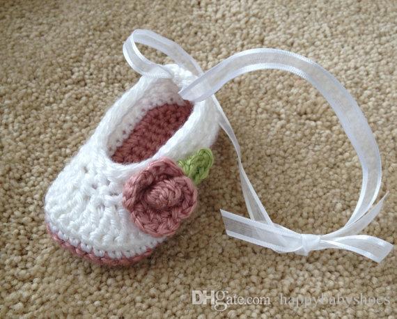 Crochet baby girl shoes ballet shoes flower leaves ribbon 0-12M cotton yarn custom