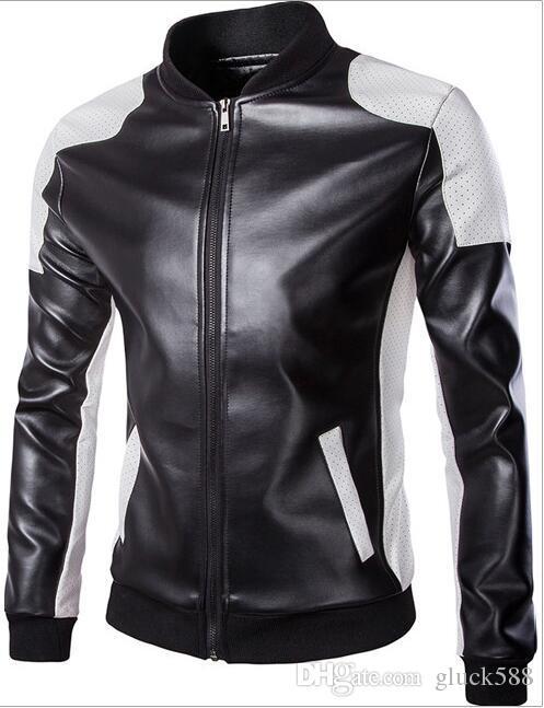 Vente chaude 2017 automne hommes stand-up tendance en cuir noir et blanc sort surdimensionné en cuir manteau Y668