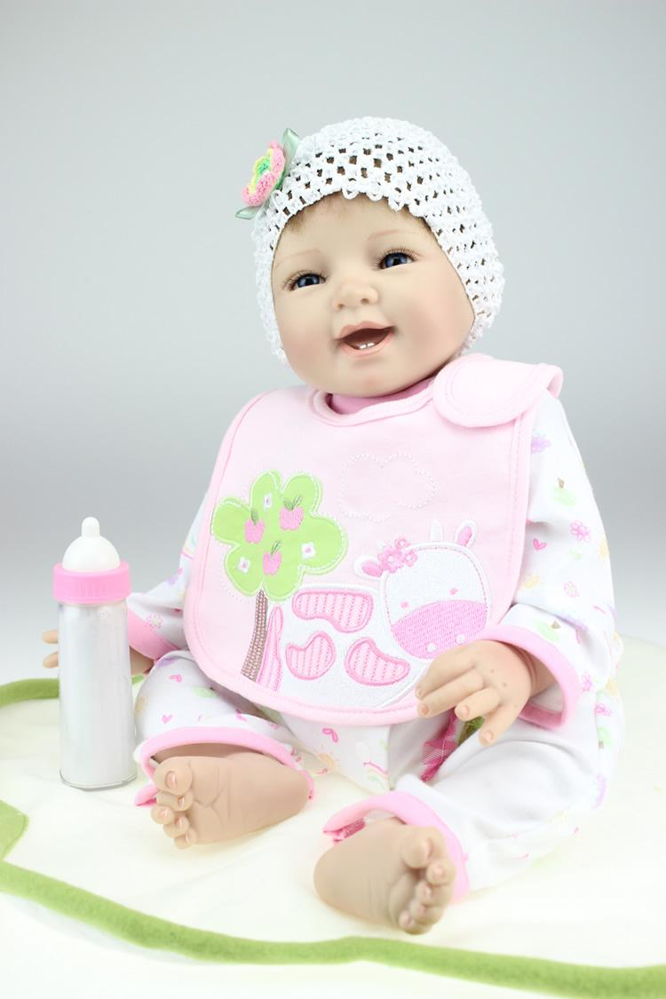 Wholesale Reborn Baby Doll Soft Silicone 22inch 55cm Magnetic Mouth Lovely  Lifelike Cute Boy Girl Toy Smile Princess White Cow Canada 2019 From Lou88 4cb9afd9d6