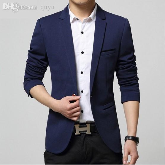 2018 Wholesale Navy Blue Blazers For Men Casual Jacket Suit One ...