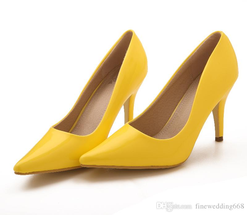 Yellow Catching Brand New 10cm High Heels Bride Bridesmaid