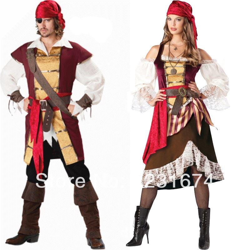 2017 Couple Cosplay Pirate Costume Classic Halloween Costumes For ...
