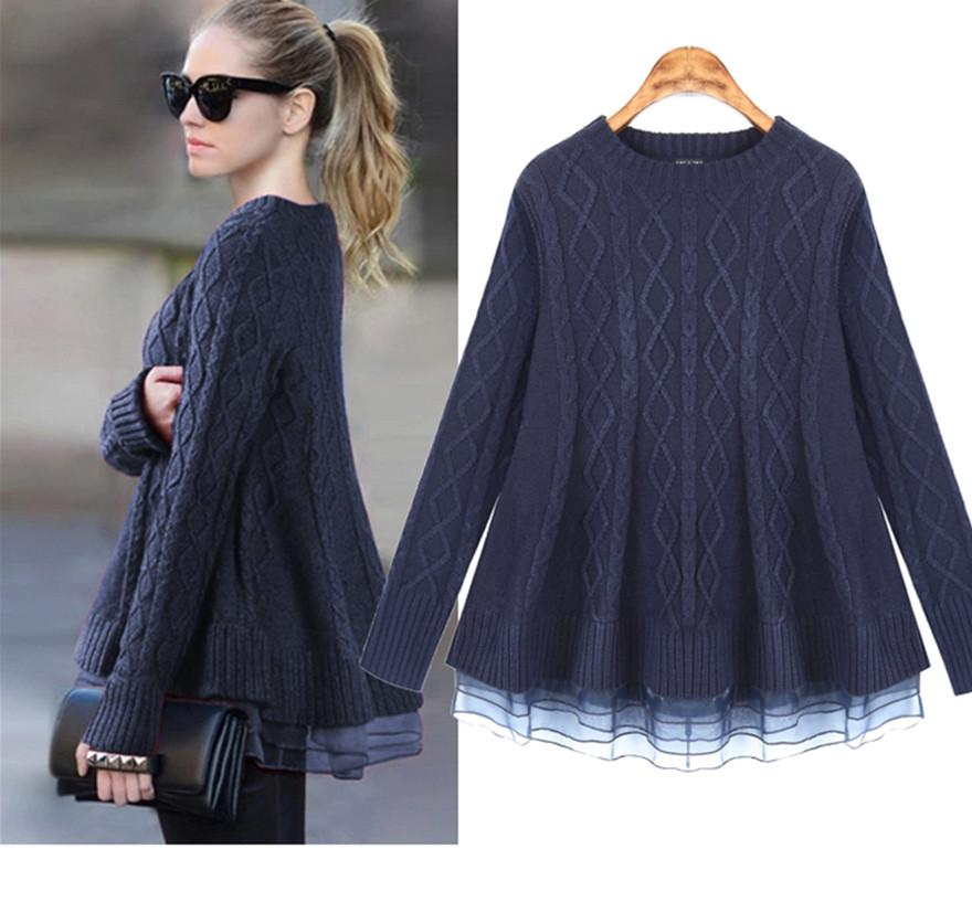 2016 New Organza Women Sweater Women Dresses Twinset Female Navy ...