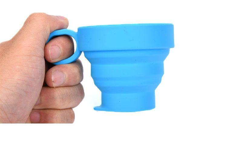 Telescópicos dobráveis de silicone Travel Cups com alça de beber copos Folding Viagem Camping Cup IC885