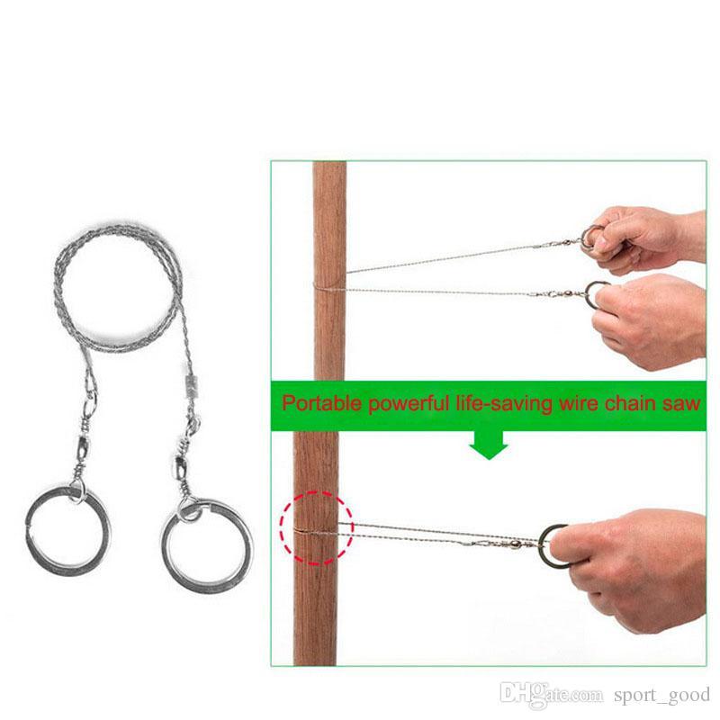Saw portátil Prático Survival Emergência da engrenagem Steel Wire Chian Saw externas Ferramentas exterior Desporto Camping Kits de Viagem Gadgets fio