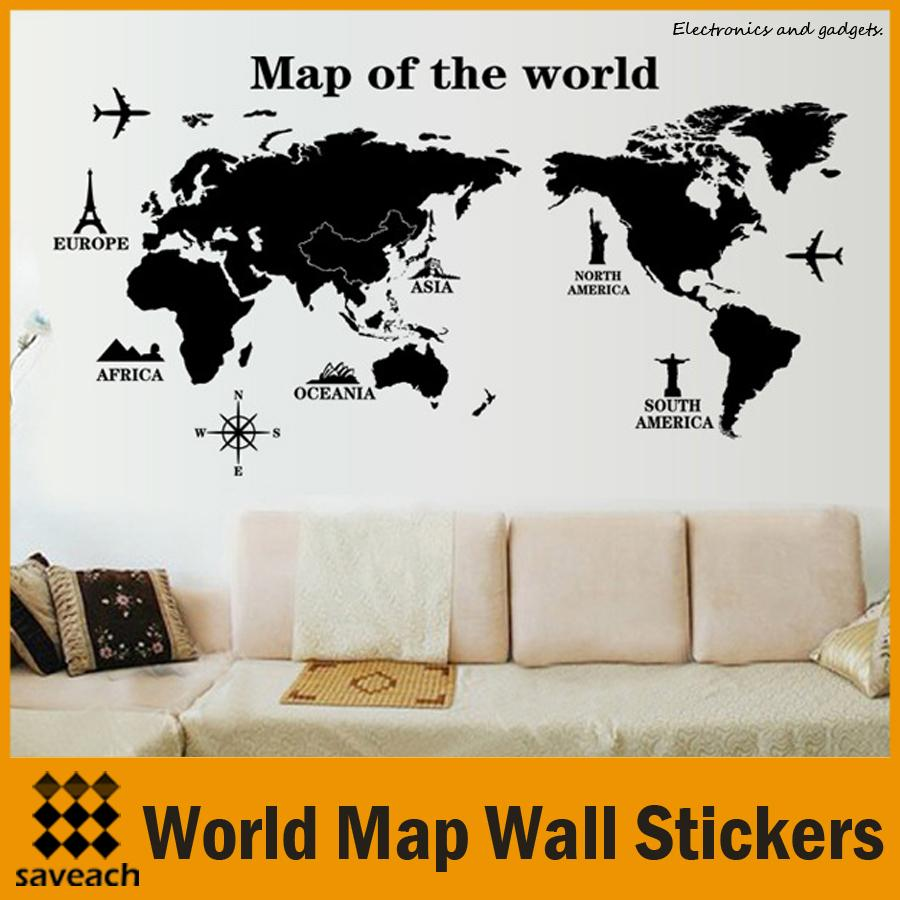 New Black Map Of The World Wall Sticker Office Background Wall Decal  Creative Removable Pvc Decals Home Decor Clings For Walls Cloud Wall Decals  From ...