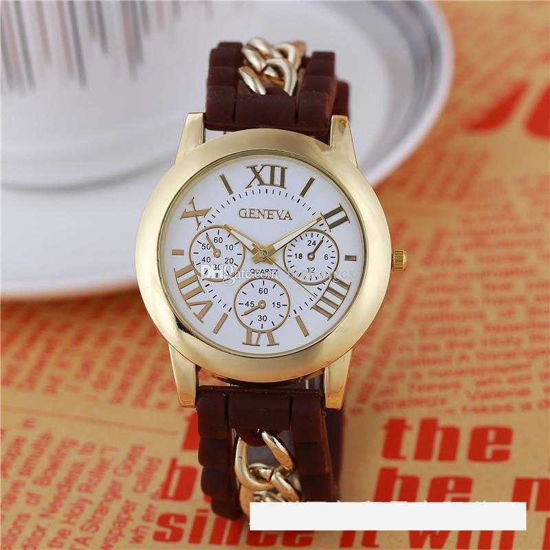 Nouveau-Bracelet Numéraux Numéraux Roma Genève Montre en acier inoxydable Silicone bande de la chaîne de la chaîne de quartz montres femmes cristal gold montre-bracelet