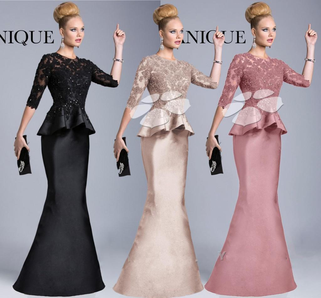Janique 2014 Black Formal Evening Gowns Sheer Crew High Neck Half ...