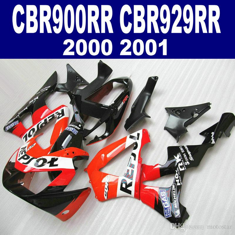 ABS full fairings set for HONDA CBR900RR CBR929 2000 2001 red black REPSOL fairing body kit CBR 900 RR 00 01 HB54