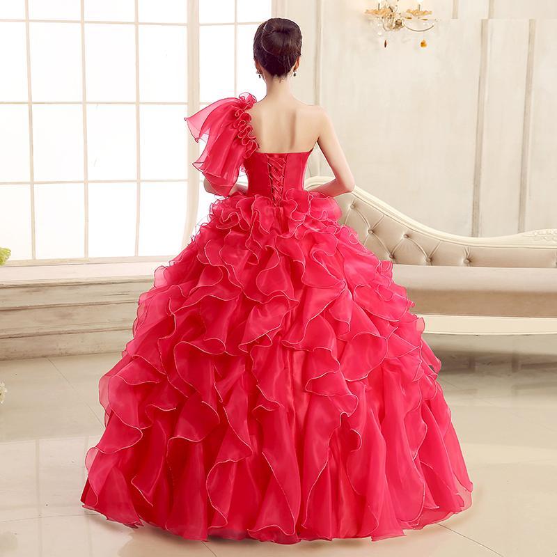 Kırmızı Moda Balo tek omuz Boncuklu Kat-uzunluk Organze Balo Elbise ile Ruffles 2015 Balo elbise Gerçek Fotoğraf