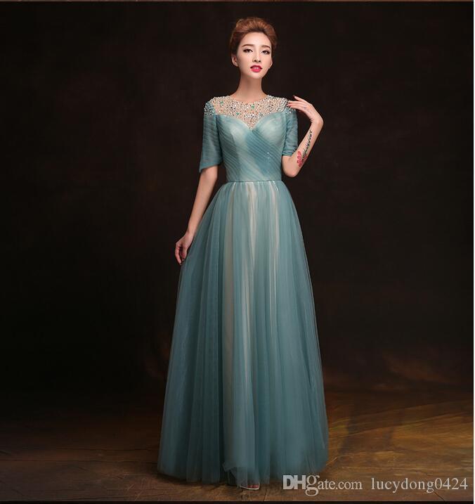 Charakterystyczne wyznaczone dekorowane Elie Saab Prom Dresses Załoga Sheer Half Sleeve A-Line Długość Tulle Suknie Wieczorowe