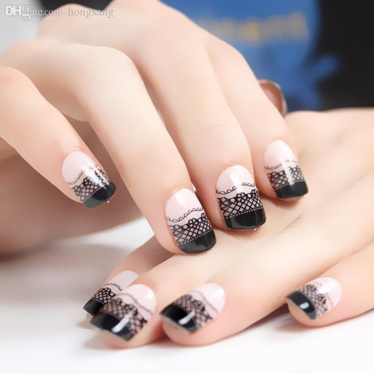 Wholesale New French Full Cover False Nails Nail Tips Faux Ongles ...