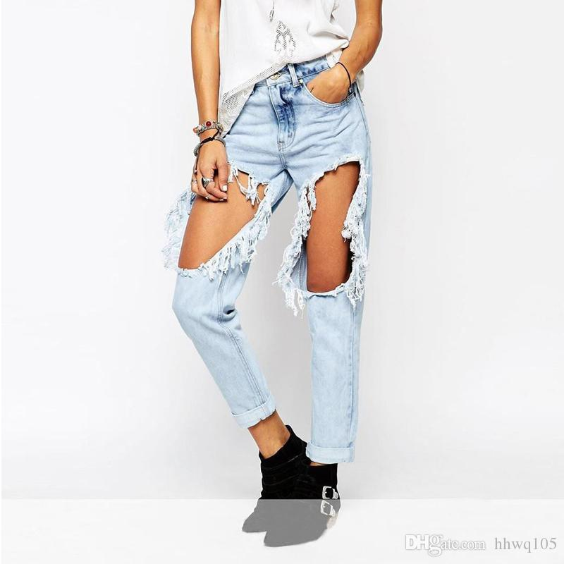 Edge Hip Woman Streetwea Hop Jeans 2019 For Distressed Raw Ripped 7Pxc1zqOT
