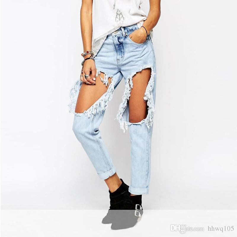 dc27ced0b0359 Compre Jeans Rotos Apenado Para Mujer Hip Hop Streetwea Raw Edge Jeans  Vaqueros Ocasionales Boyfriend Moto Jenas BSF0337 A  23.72 Del Hhwq105