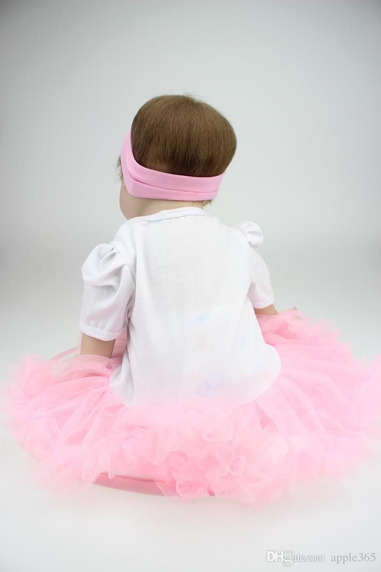 "55cm/22""Acrylic&soft Silicone Simulation cloth body Reborn Baby Doll Girl/22NPK6902"