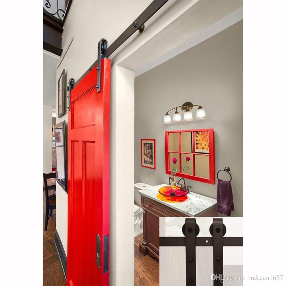 2018 7.5ft Antique Black Wooden Double Sliding Barn Closet Door Heavy Duty  Modern Wood Hardware Interior American Style Track Kit From Mukden1657, ... - 2018 7.5ft Antique Black Wooden Double Sliding Barn Closet Door