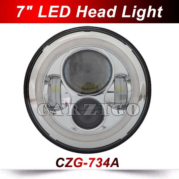 "1pc 734A silver 7"" round led head lamp hi/low beam 40/30w yellow DRL angel eye 7 inch round led headlight for 4x4 jeep wrangler"