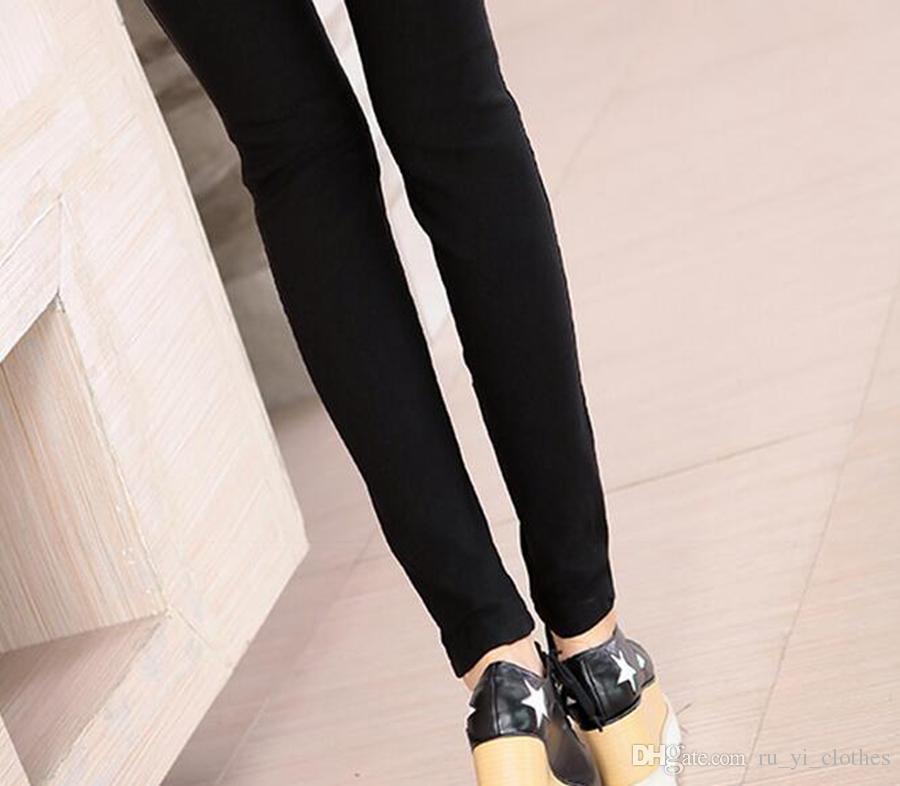 Le donne nuova moda il tempo libero invernale a vita alta e ispessimento caldo cuciture strette pantaloni di pelle stretch come una matita. M - 2xl