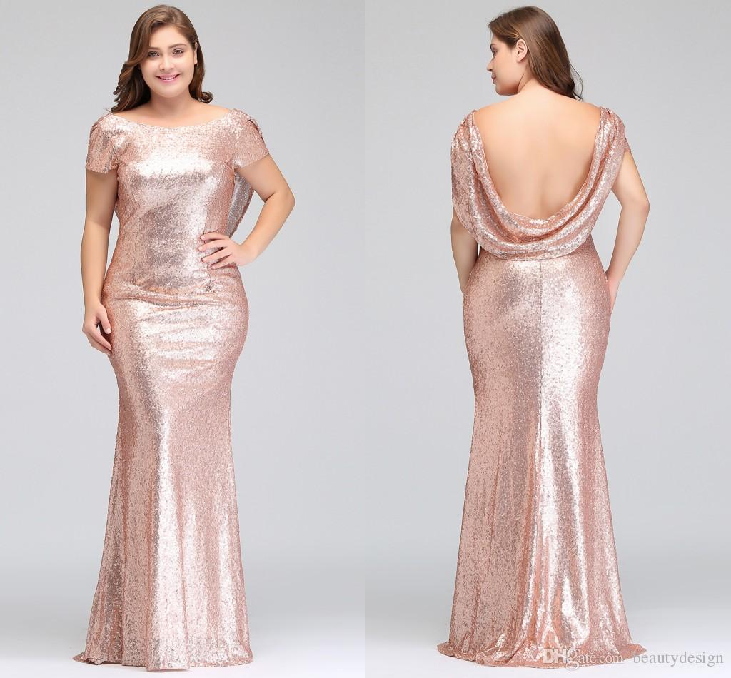 Plus Size Rose Gold Bridesmaid Dresses Long Sparkling 2018 New Women ...
