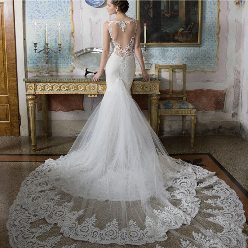 Alon livne white 2015 lace open back wedding dresses fit for Heart shaped mermaid wedding dresses