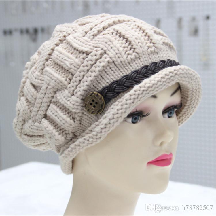 DHL High Quality Woolen knit cap Korean Handmade Winter Warm Hats For Women Fashion Belt Button Small Plaid knitted hat