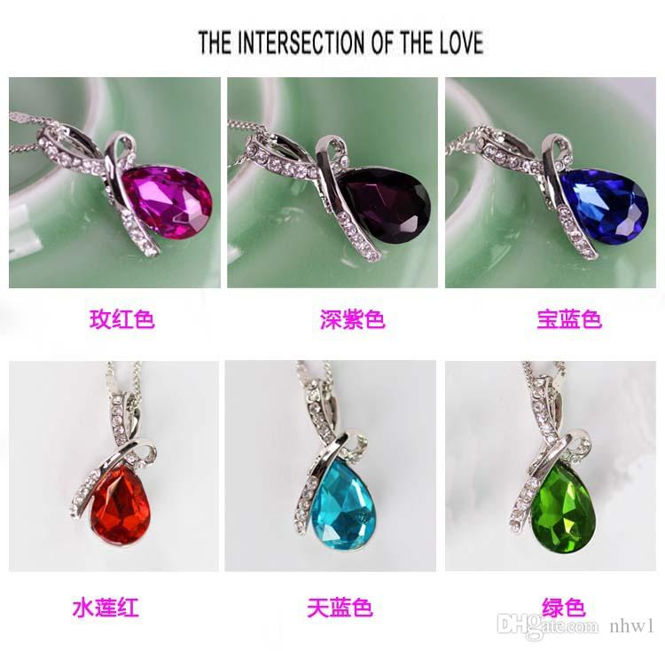 Crystal Water Drop Necklace 18K Gold Plated Chain Rhinestone Pendant Necklaces For Women Jewelry Statement Accessories Gift