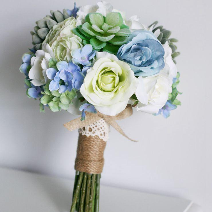 Silk Flower Wedding Bouquets Wholesale Event Decoration Flowers Blue Artificial Cascading Bridal Bouquet