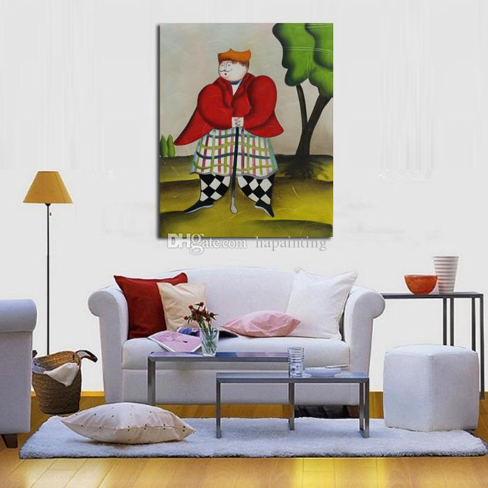 New Design Wall Stickers Handpainted Lovely Art Abstract Golf Playing Oil Paintings on Canvas Abstract Wall Pictures Home Decor