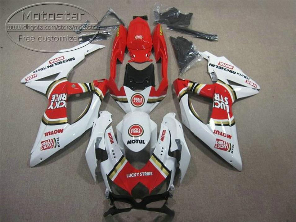 New aftermarket parts for SUZUKI GSX-R750 GSX-R600 2008 2009 2010 white red LUCKY STRIKE fairings K8 K9 GSXR600/750 08-10 fairing kit KS77
